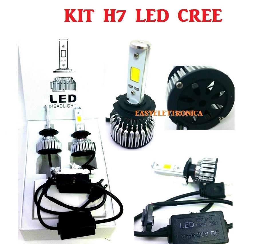 kit auto cree led h7 6000 k 25w centraline slim 2500 lumen ventola integrata no xenon. Black Bedroom Furniture Sets. Home Design Ideas