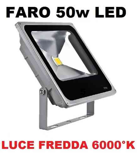 FARO LED ULTRA-SLIM IP66 50 WATT LUCE FREDDA 6000°K FARETTO ALTA LUMINOSITà PER INTERNI ED ESTERNI