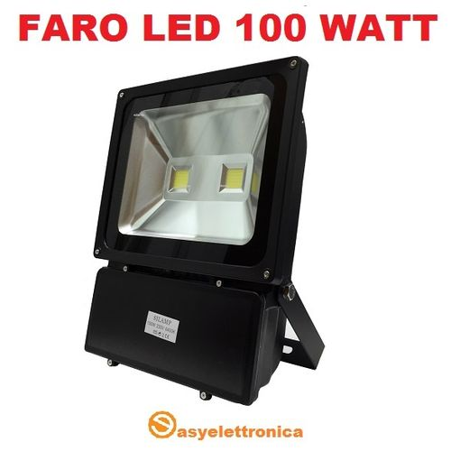 FARO 2 LED ULTRA-SLIM IP65 100 WATT LUCE FREDDA 6000K FARETTO ALTA LUMINOSITà PER INTERNI ED ESTERNI