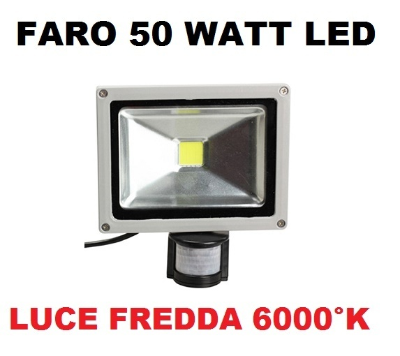 Faro Led Ip65 50 Watt Con Sensore Di Movimento Luce Fredda 6000 K Faretto Per Interni Ed Esterni