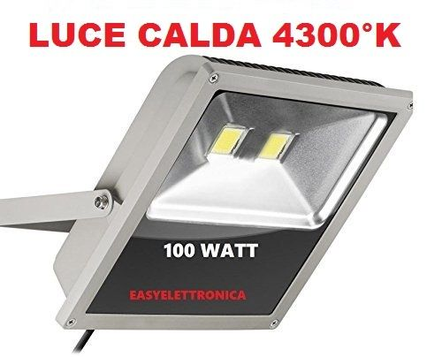 FARO LED ULTRA-SLIM IP66 100 WATT LUCE CALDA 4300°K FARETTO ALTA LUMINOSITà PER INTERNI ED ESTERNI